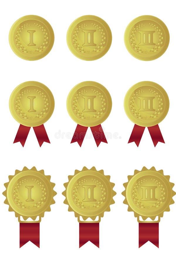Uppsättning av guldmedaljer med röda band stock illustrationer