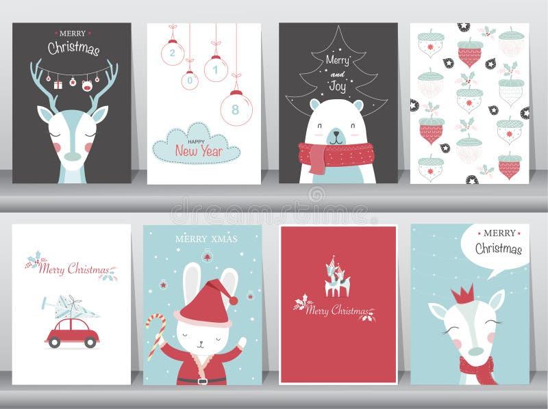 Uppsättning av gullig bakgrund för glad jul med gullig djur- och vinterkläder, gulligt djur, vektorillustrationer vektor illustrationer