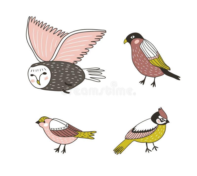 Uppsättning av gullig drog fåglar för vektorillustration hand stock illustrationer