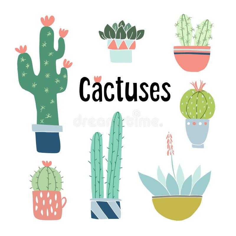 Uppsättning av gullig hand drog kaktus- och suckulentväxter i krukor Isolerade blom- vektorobjekt Tecknad filmillustrationer royaltyfri illustrationer