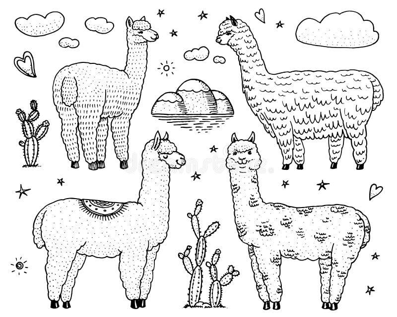 Uppsättning av gulliga Alpacalamor eller den lösa guanacoen på bakgrunden av kaktuns och berget Roliga le djur i Peru för royaltyfri illustrationer