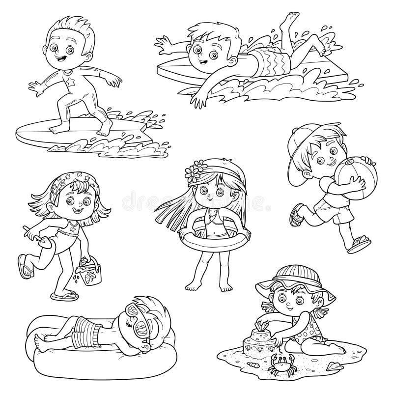 Uppsättning av gulliga barn på sommarsemester royaltyfri illustrationer