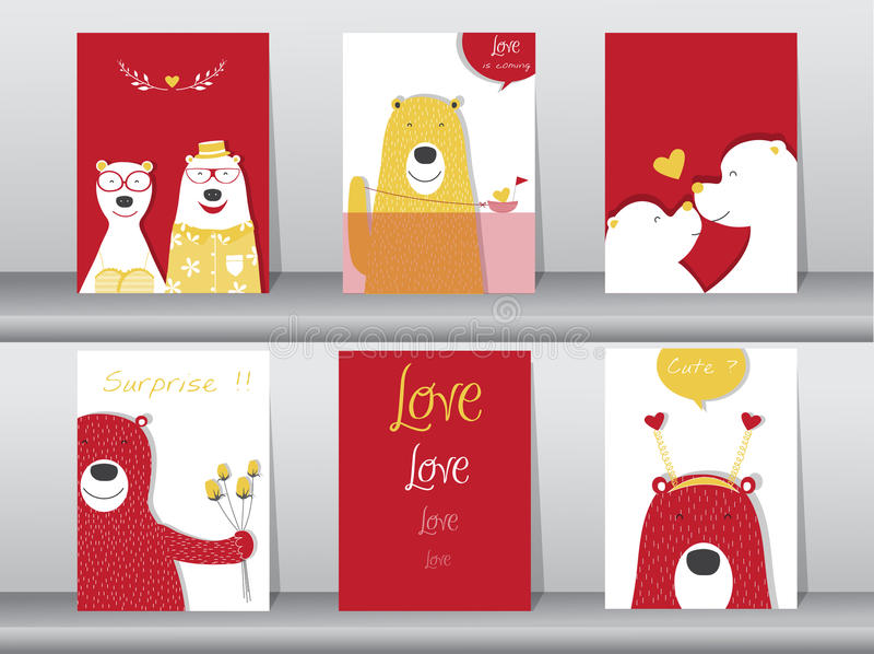 Uppsättning av gulliga djur affisch, design för dagen för valentin` s, mall, kort, björn, vektorillustrationer royaltyfri illustrationer