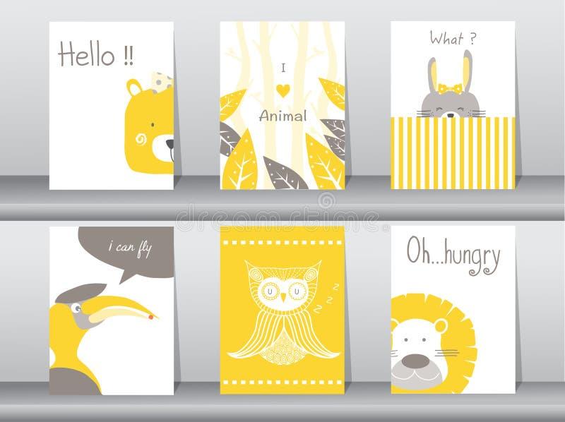 Uppsättning av gulliga djur affisch, mall, kort, björn, fågel, lejon, kanin, zoo, vektorillustrationer vektor illustrationer