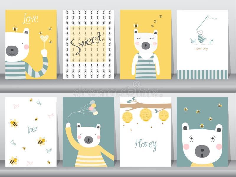 Uppsättning av gulliga djur affisch, mall, kort, björn, vektorillustrationer vektor illustrationer