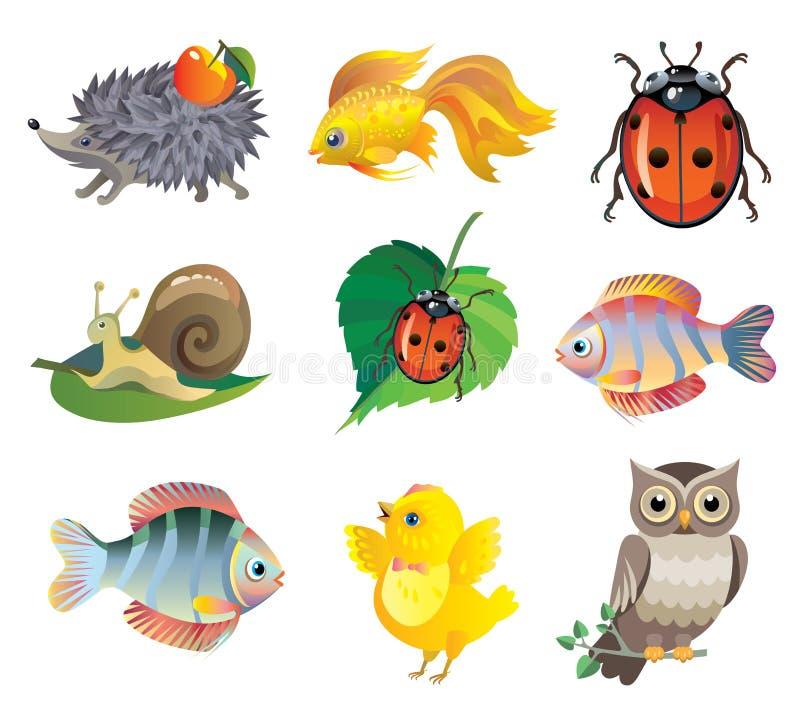 Uppsättning av gulliga djur för vektor royaltyfri illustrationer