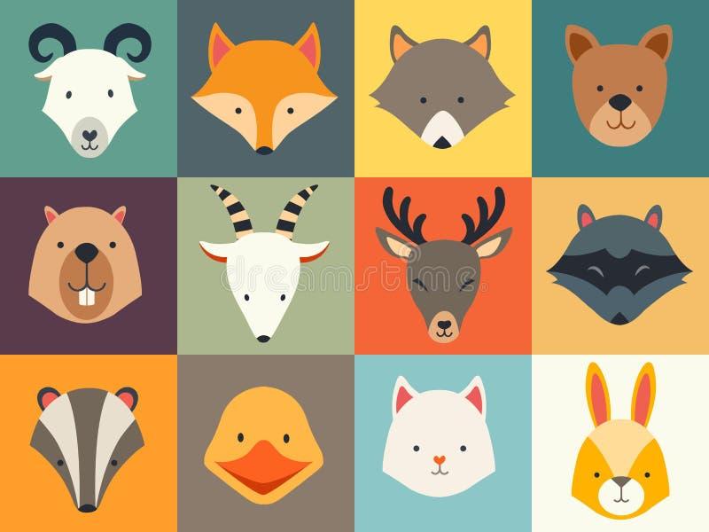Uppsättning av gulliga djursymboler royaltyfri illustrationer