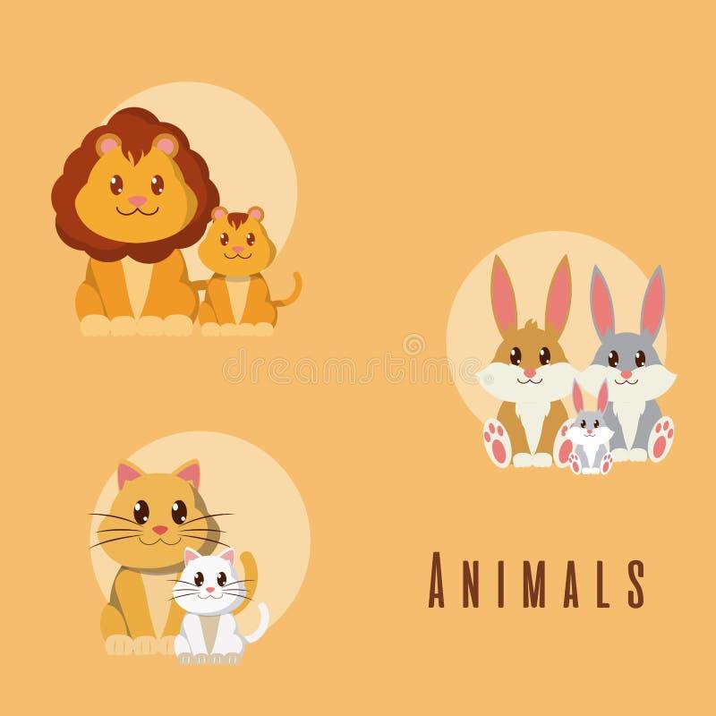 Uppsättning av gulliga djurtecknade filmer stock illustrationer