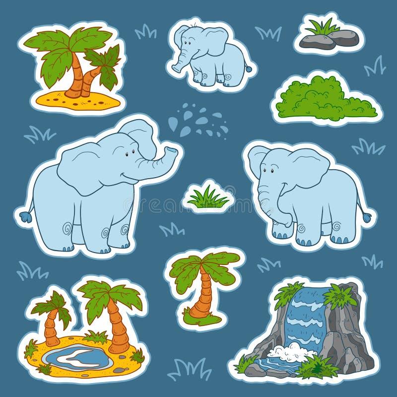 Uppsättning av gulliga elefanter och naturliga platser, vektorklistermärkear av anim vektor illustrationer