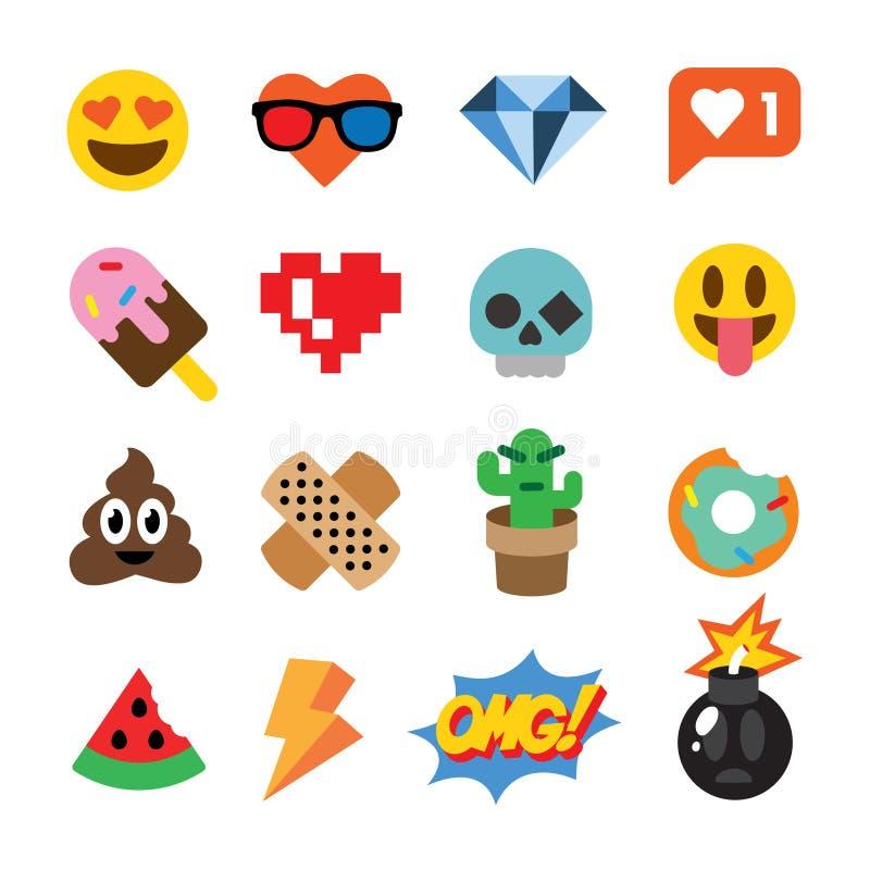 Uppsättning av gulliga emoticons, klistermärkear, emojidesign som isoleras på vit bakgrund vektor illustrationer