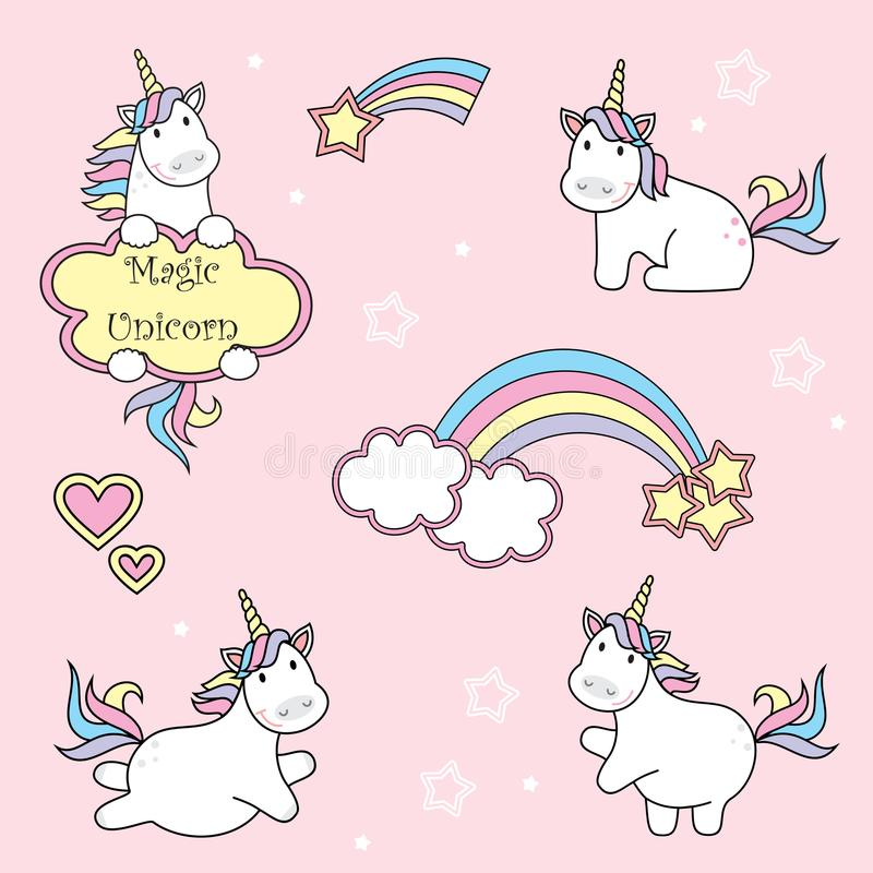 Uppsättning av gulliga enhörningsymboler, regnbågen och stjärnor, barnvektorillustration, tecknad filmdesign vektor illustrationer