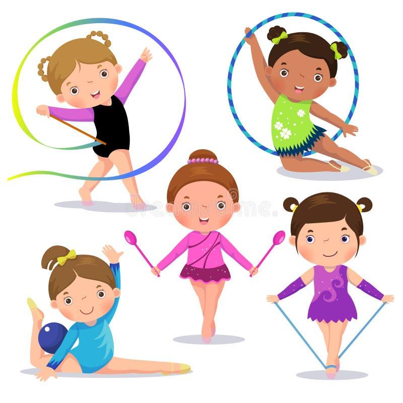 Uppsättning av gulliga flickor för rytmisk gymnastik royaltyfri illustrationer