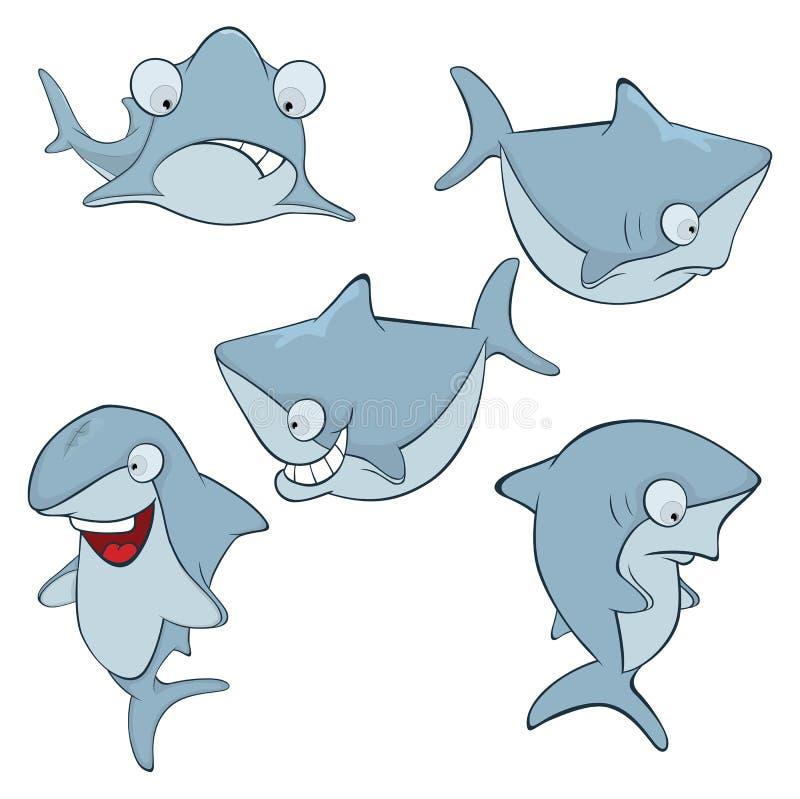 Uppsättning av gulliga hajar för dig design cartoon royaltyfri illustrationer