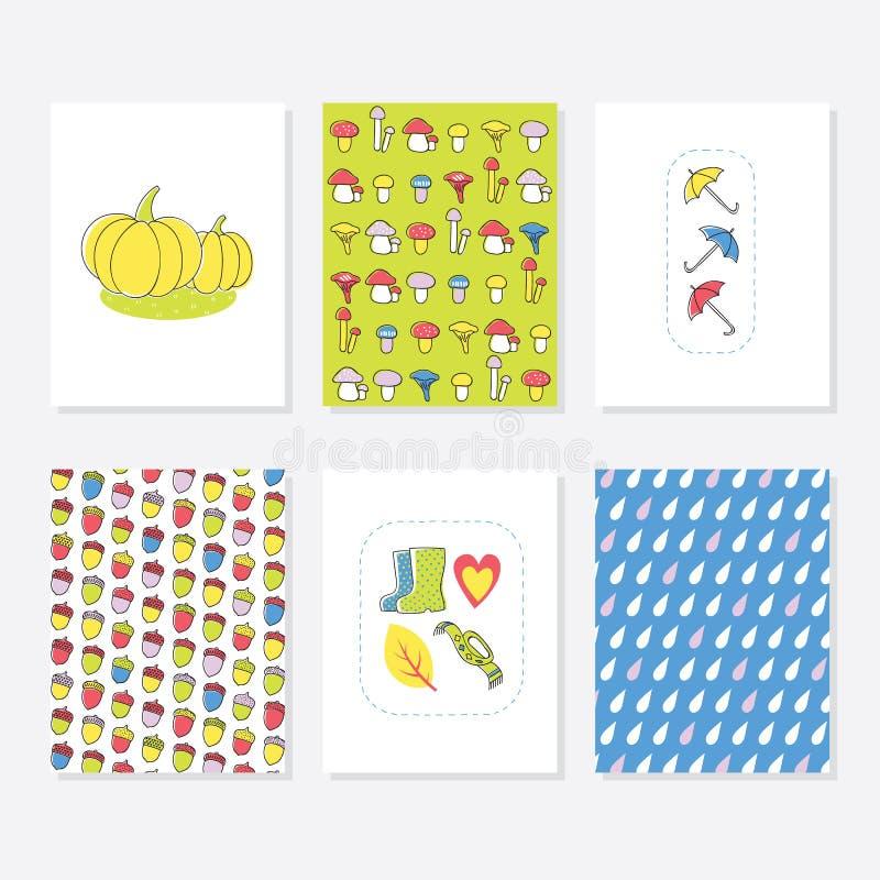 Uppsättning av 6 gulliga idérika kortmallar med Autumn Design kort tecknad hand royaltyfri illustrationer