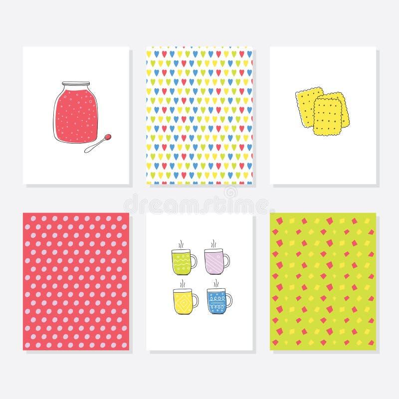 Uppsättning av 6 gulliga idérika kortmallar med Autumn Theme Design Hand dragit kort för årsdagen, födelsedag, partiinbjudningar stock illustrationer