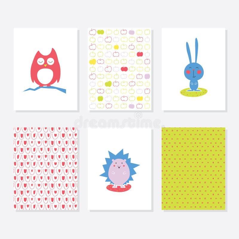Uppsättning av 6 gulliga idérika kortmallar med Autumn Theme Design Hand dragit kort för årsdagen, födelsedag, partiinbjudningar royaltyfri illustrationer