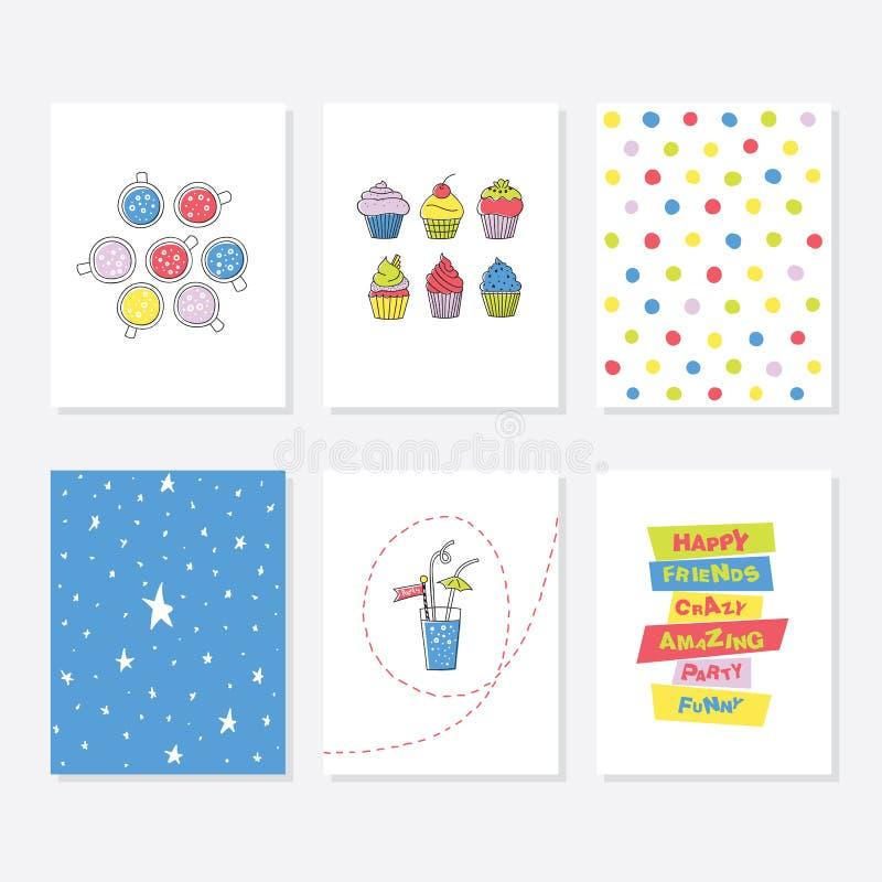 Uppsättning av 6 gulliga idérika kortmallar med partitemadesign royaltyfri illustrationer