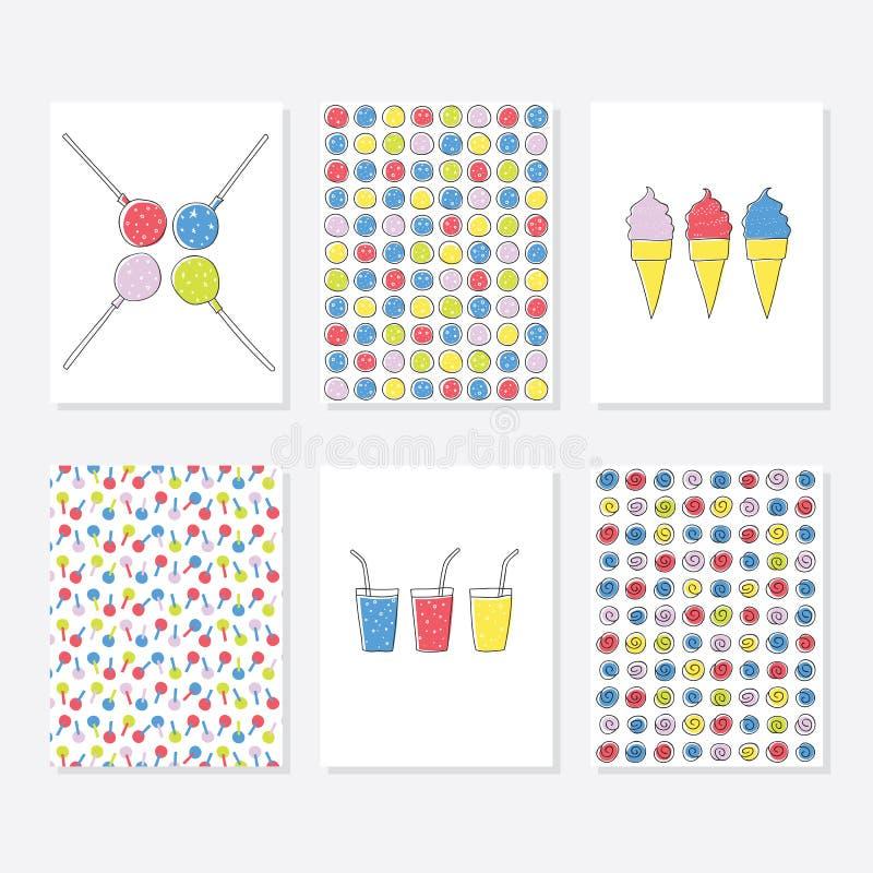 Uppsättning av 6 gulliga idérika kortmallar med partitemadesign Hand dragit kort för årsdagen, födelsedag, partiinbjudningar royaltyfri illustrationer