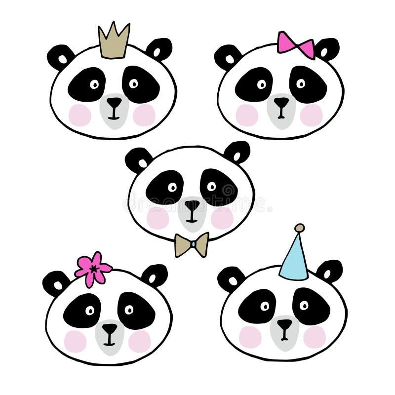 Uppsättning av gulliga jätte- pandor Huvud av den lilla björnsamlingen också vektor för coreldrawillustration stock illustrationer