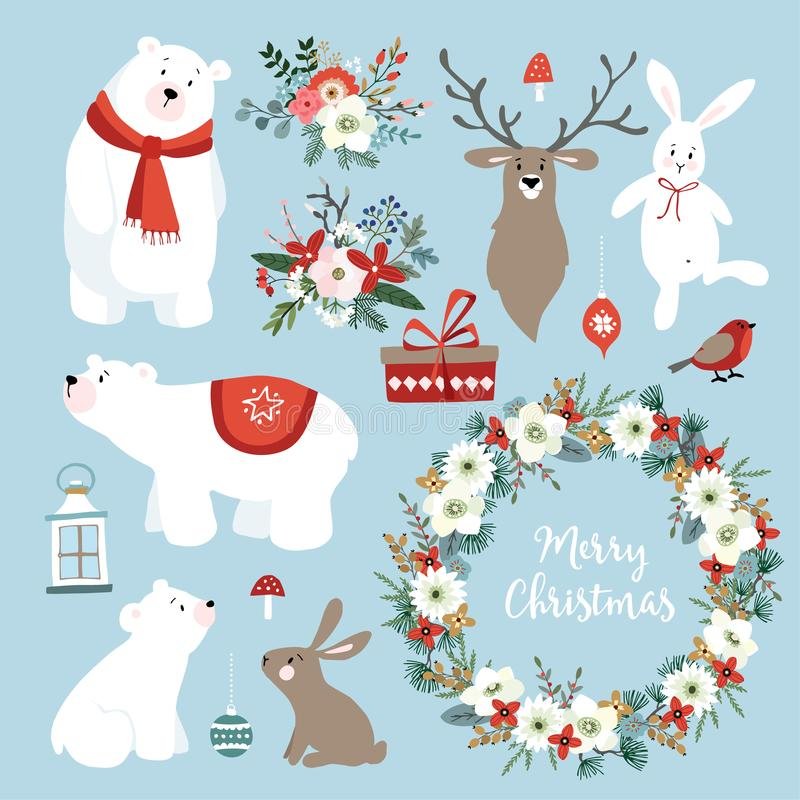 Uppsättning av gulliga julgem-konster med kaniner, ren, isbjörnar vektor illustrationer