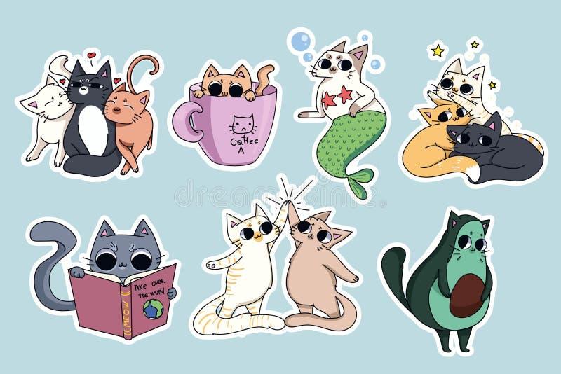 Uppsättning av gulliga kattklistermärkear Avokadokatt, kaffe-katt Cat Reading stock illustrationer