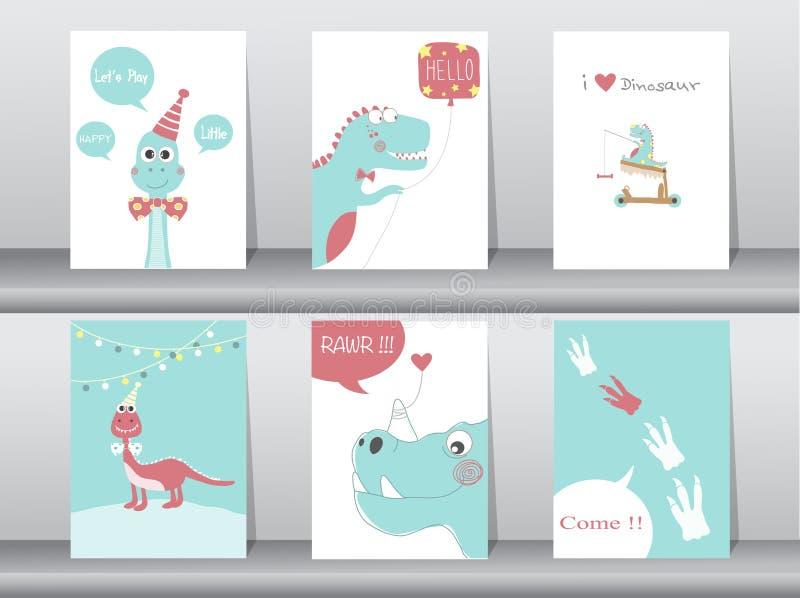 Uppsättning av gulliga kort, affisch, mall, hälsningkort, djur, dinosaurier, vektorillustrationer vektor illustrationer