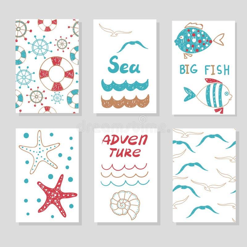 Uppsättning av gulliga kortmallar för din design Illustrationer för klotterhavsvektor vektor illustrationer
