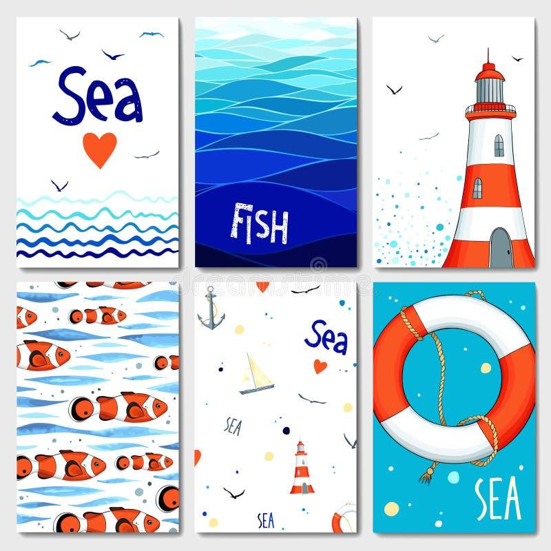 Uppsättning av 6 gulliga kortmallar med marin- design royaltyfri illustrationer