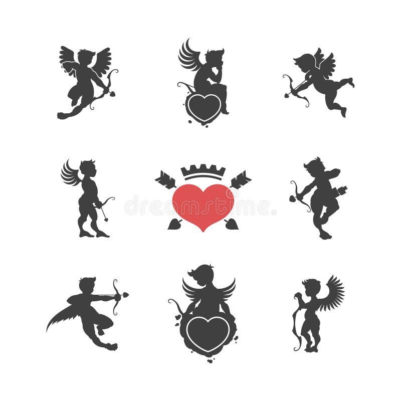Uppsättning av gulliga kupidonkonturer för tappning royaltyfri illustrationer
