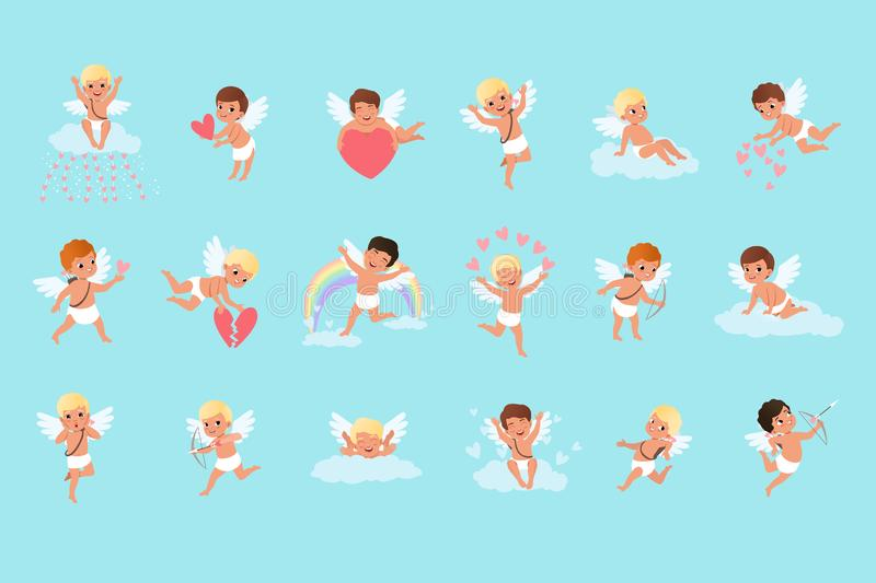 Uppsättning av gulliga kupidonpojkar i olika handlingar Flyg sammanträde på moln, fördelande förälskelse Mytiska bågskyttar Ängla vektor illustrationer