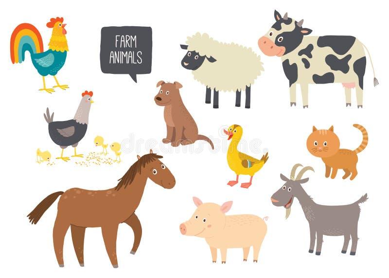 Uppsättning av gulliga lantgårddjur Häst ko, får, svin, and, höna, get, hund, katt, hane Tecknad filmvektor hand dragen eps 10 royaltyfri illustrationer