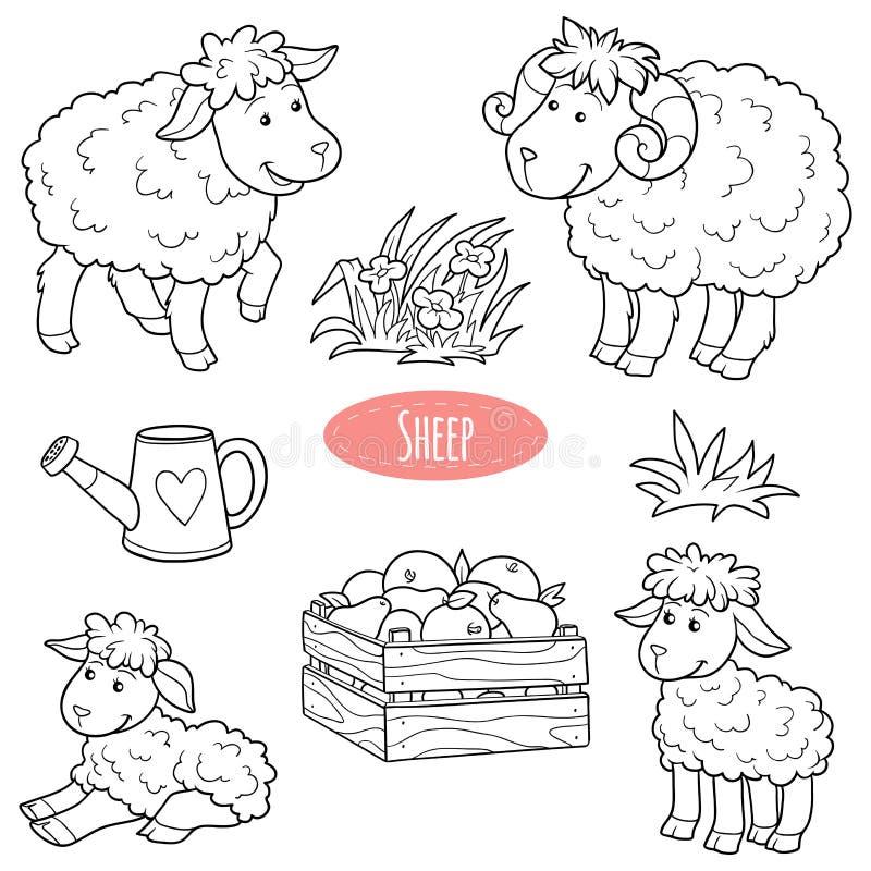 Uppsättning av gulliga lantgårddjur och objekt, vektorfamiljfår royaltyfri illustrationer