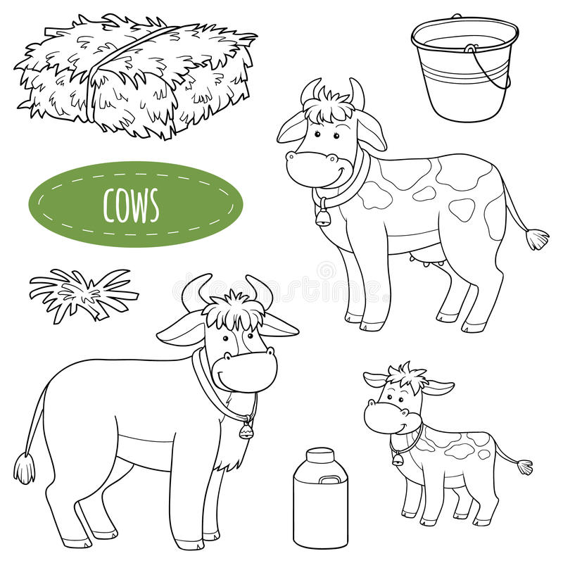 Uppsättning av gulliga lantgårddjur och objekt, vektorfamiljkor royaltyfri illustrationer