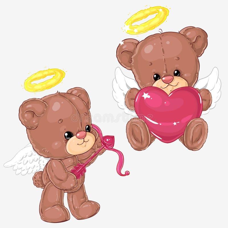 Uppsättning av gulliga nallebjörnar med hjärtor och kupidonpilen för hälsningkort och scrapbooking för dag för St-valentin` s vektor illustrationer