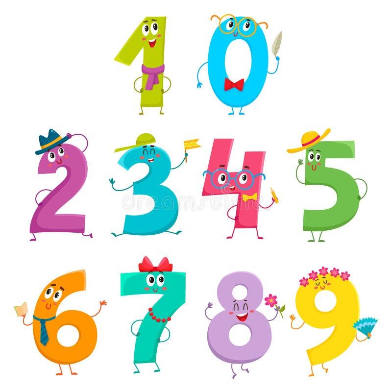 Uppsättning av gulliga och roliga färgrika nummertecken stock illustrationer