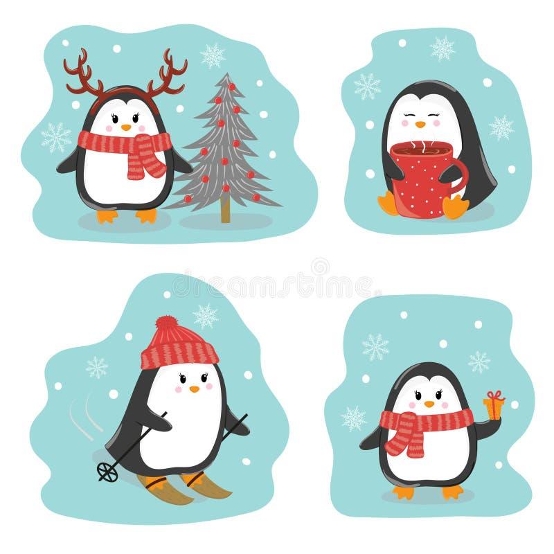 Uppsättning av gulliga pingvin Hälsningar för glad jul och för lyckligt nytt år vektor illustrationer