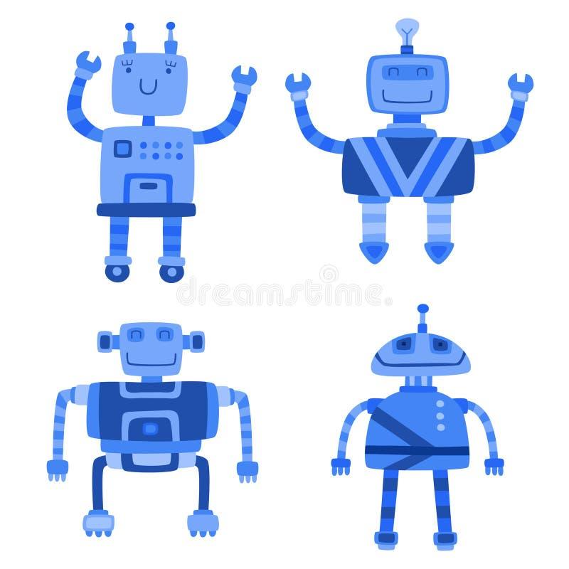 Uppsättning av gulliga robotar för olik färg också vektor för coreldrawillustration royaltyfri illustrationer