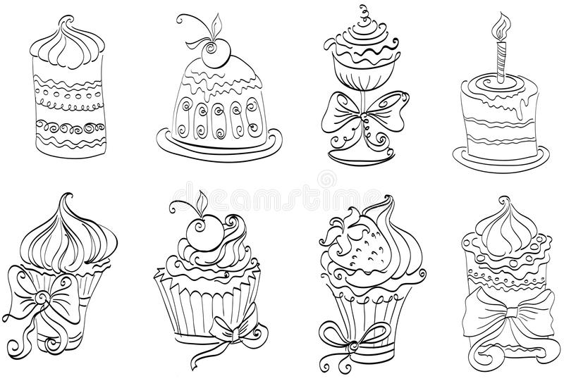 Uppsättning av gulliga söta muffiner royaltyfri illustrationer