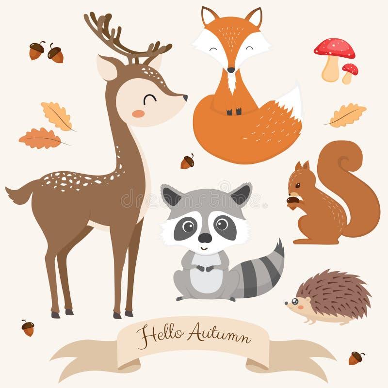 Uppsättning av gulliga skogsmarkdjur royaltyfri illustrationer