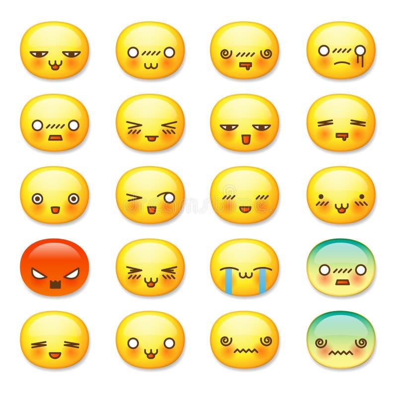 Uppsättning av gulliga smileyemoticons, emoji royaltyfri illustrationer