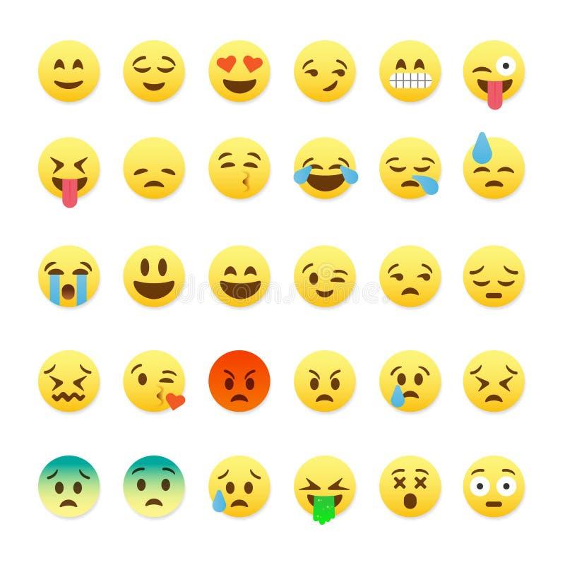Uppsättning av gulliga smileyemoticons, emojilägenhetdesign stock illustrationer