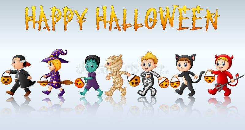 Uppsättning av gulliga tecknad filmbarn i halloween dräkter royaltyfri illustrationer