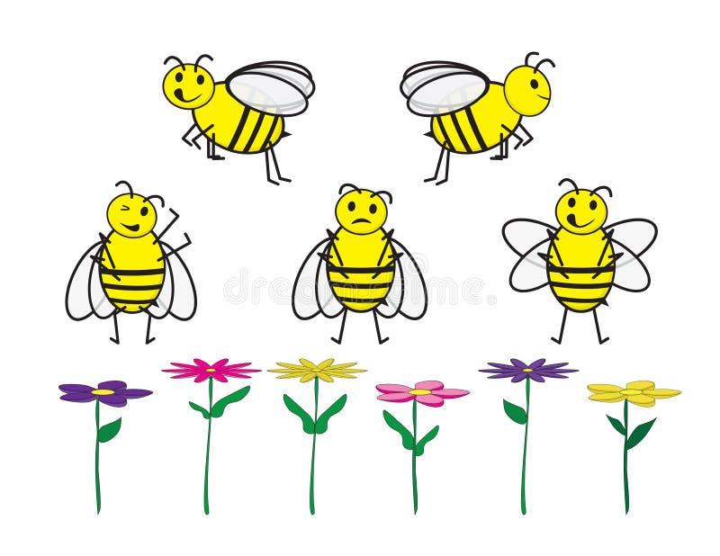 Uppsättning av gulliga tecknad filmbin och blommor på vit bakgrund stock illustrationer