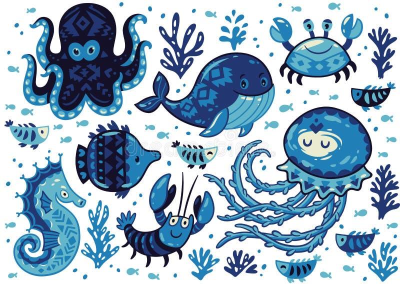 Uppsättning av gulliga tecknad filmdjur i nautisk stil royaltyfri illustrationer