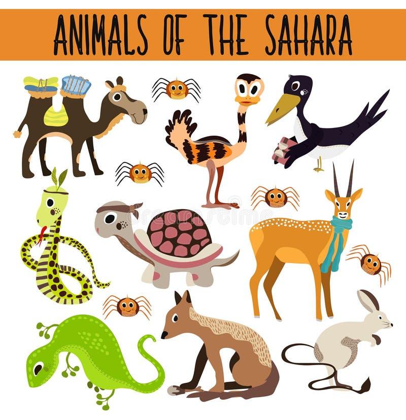Uppsättning av gulliga tecknad filmdjur och fåglar i varma öknar som isoleras på vit bakgrund Kamel sköldpadda, sjakal, ödla, orm stock illustrationer