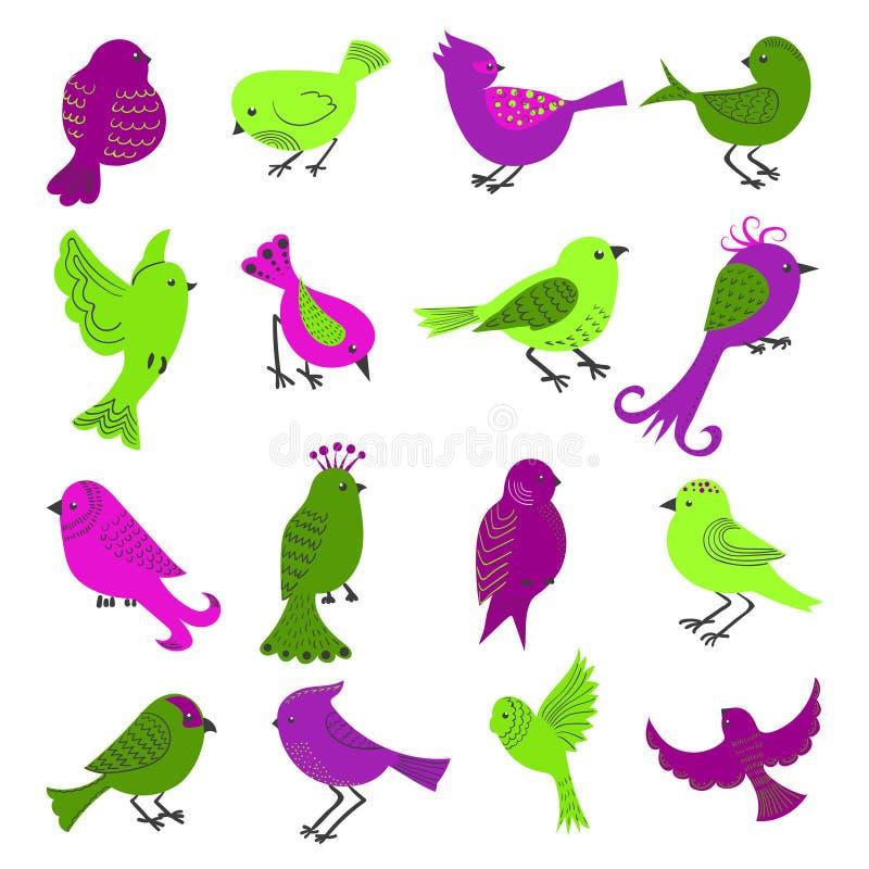 Uppsättning av gulliga tecknad filmfåglar som isoleras på vit vektor illustrationer