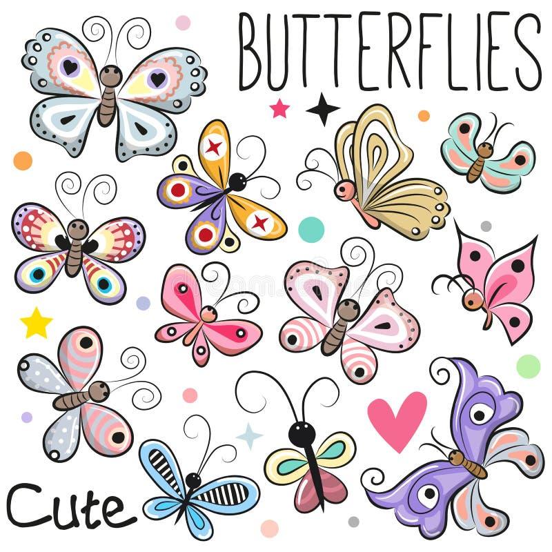 Uppsättning av gulliga tecknad filmfjärilar stock illustrationer
