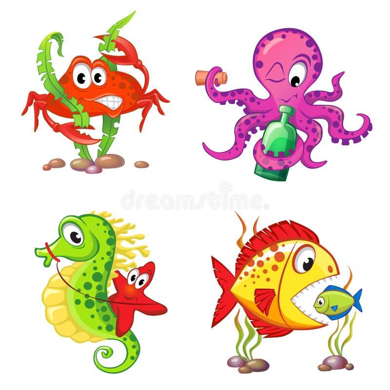 Uppsättning av gulliga tecknad filmhavsdjur Krabban seahorsen, sjöstjärnan, bläckfisk, fiskar stock illustrationer