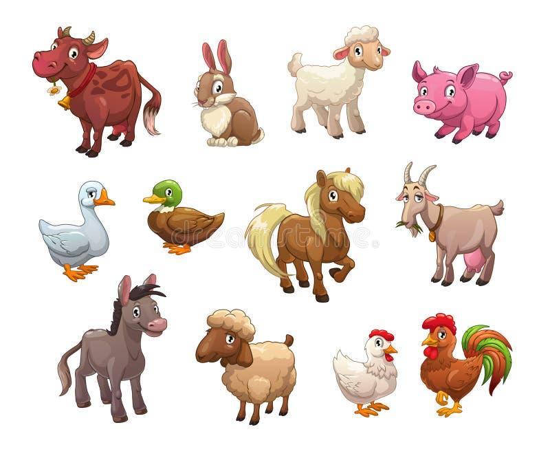 Uppsättning av gulliga tecknad filmlantgårddjur stock illustrationer