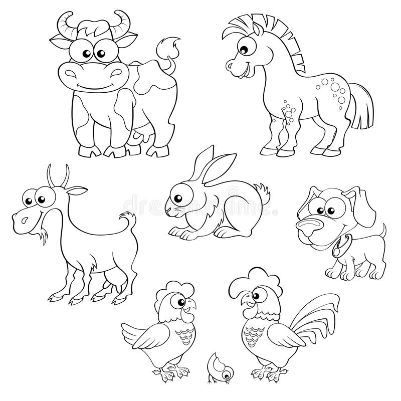 Uppsättning av gulliga tecknad filmlantgårddjur Häst, ko, get, kanin, hund, höna, hane och fågelunge royaltyfri illustrationer